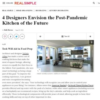 Do you know what the Kitchen of the Future is going to look like? My creative juices were flowing...American Standard asked me during the pandemic to design the Post Pandemic Kitchen of the Future featuring their newest Saybrook filtered faucet. The design was submitted to Real Simple Magazine, where their focus is life made easier. I was honored to be asked by @american_standard. Thank you to @real_simple! #kitchenofthefuture #postpandemickitchenofthefuture #design #poeticmodernism® #poeticlivingwell. Article in my bio.