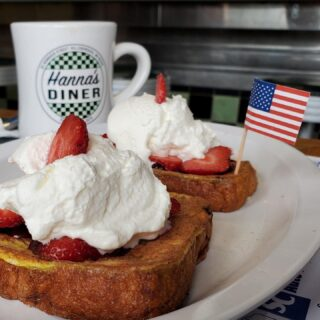 Happy 4th from Hanna's diner in Hillsborough New Hampshire! My son tried their Chocolate chip French toast with strawberries and whip cream special #yummy Hanna brings her culinary genius to diner food!