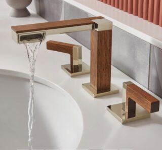 I'm loving how the water sprays from the cantilevered side of this faucet ❤️ Explore the Frank Lloyd Wright Bath collection by Brizo. Thecollection embodies Wright's 6 principles of design and was the foundation to see how itcan be expressed today.  @brizofaucet @wrighttaliesin   Simplicity:only the significant remains is a term Wright wouldsay. Brizo's collection looks simple on the surface and its water complexity is refined.  Belonging: elements of design are constantlyrevealing themselves. Brizo's water flow effortlessly moves through each cantileveredelement and unfolds into the next.  Individuality:individual expression is what great design stands for. Brizo's collection connects you to nature with its unique form and materials.  Palette:using materials thatconnect us with the world around us creates peace. Brizo's use of metal reflects the environment around us. Coupling the color of the wood makes thedesign very welcoming.  Substance: materials are true and being used the way they should be. Brizo juxtaposedthe use of metal and wood and used them in a way that was true to itsmateriality.  Integrity:the way a building shows you how it works and what itis madeof. Brizo used integrity by showcasing water as its main design element. The water dramatically sprays off to one side. Thereis an element of calm and surprise at the same time.#bathroom #organicarchitecture